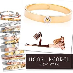 HENRI BENDEL GOLD HINGED BRACELET BANGLE